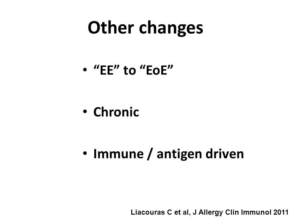 EE to EoE Chronic Immune / antigen driven Other changes Liacouras C et al, J Allergy Clin Immunol 2011