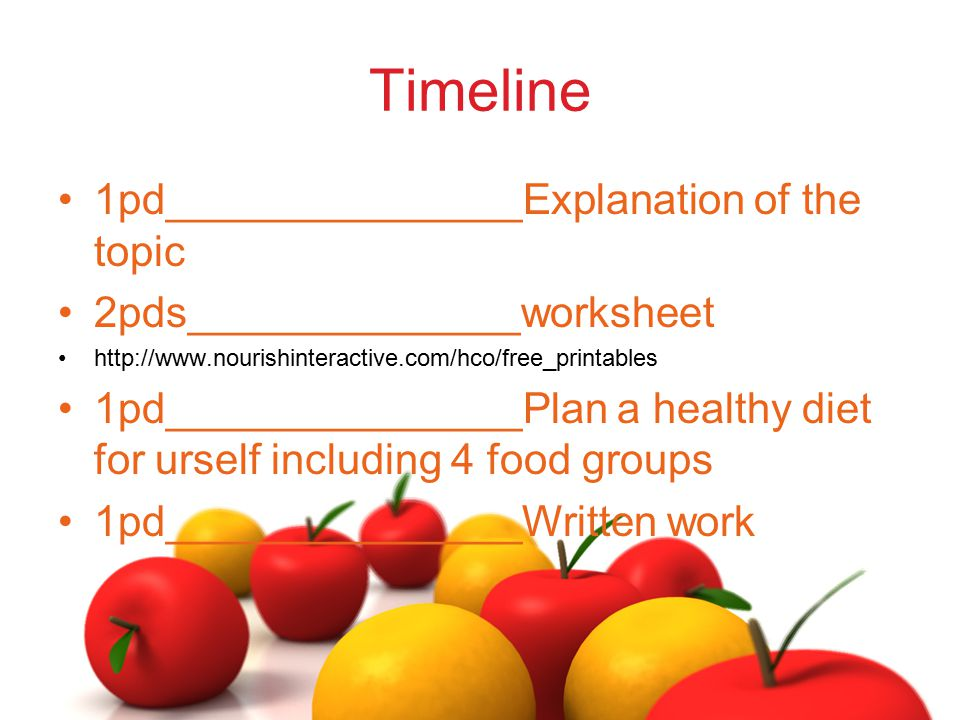 Timeline 1pd_______________Explanation of the topic 2pds______________worksheet http://www.nourishinteractive.com/hco/free_printables 1pd_____________