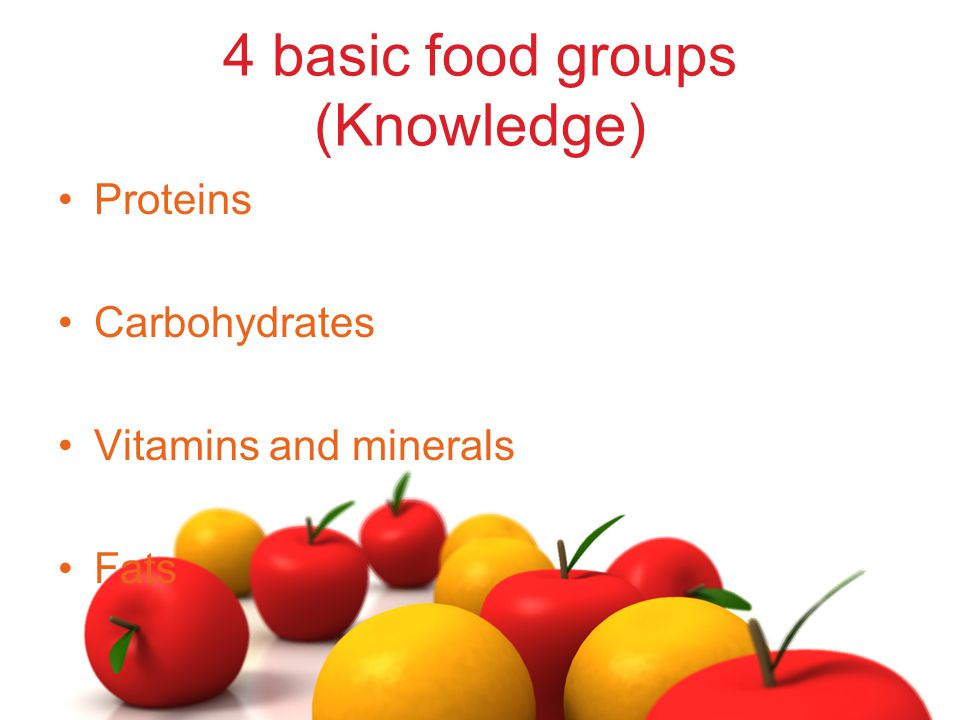 4 basic food groups (Knowledge) Proteins Carbohydrates Vitamins and minerals Fats
