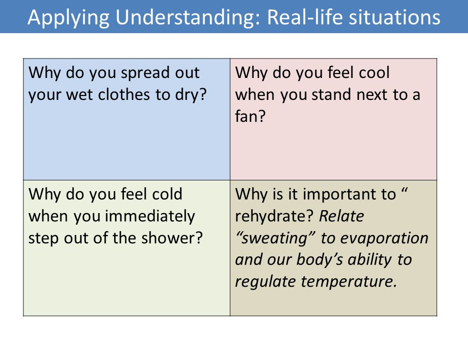 Applying Understanding: Real-life situations Why do you spread out your wet clothes to dry? Why do you feel cool when you stand next to a fan? Why do