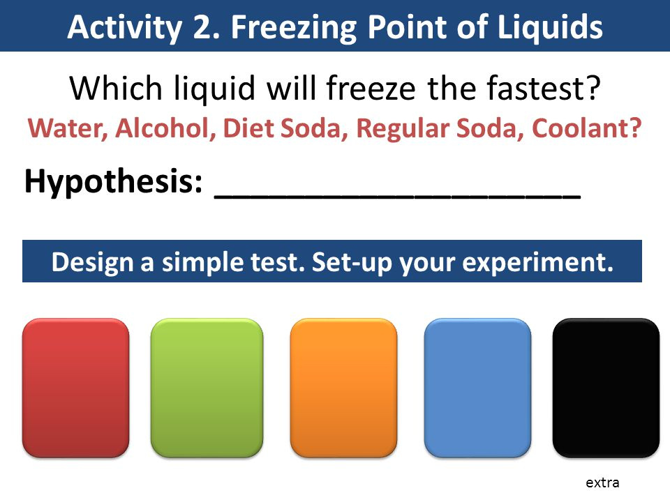Activity 2. Freezing Point of Liquids Which liquid will freeze the fastest? Water, Alcohol, Diet Soda, Regular Soda, Coolant? Hypothesis: ____________