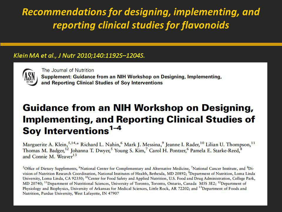 Recommendations for designing, implementing, and reporting clinical studies for flavonoids Klein MA et al., J Nutr 2010;140:1192S–1204S.