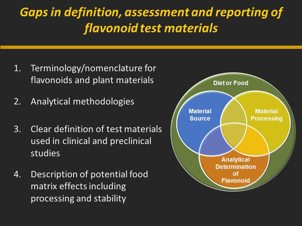 Gaps in definition, assessment and reporting of flavonoid test materials 1.Terminology/nomenclature for flavonoids and plant materials 2.Analytical methodologies 3.Clear definition of test materials used in clinical and preclinical studies 4.Description of potential food matrix effects including processing and stability Material Source Material Processing Analytical Determination of Flavonoid Diet or Food
