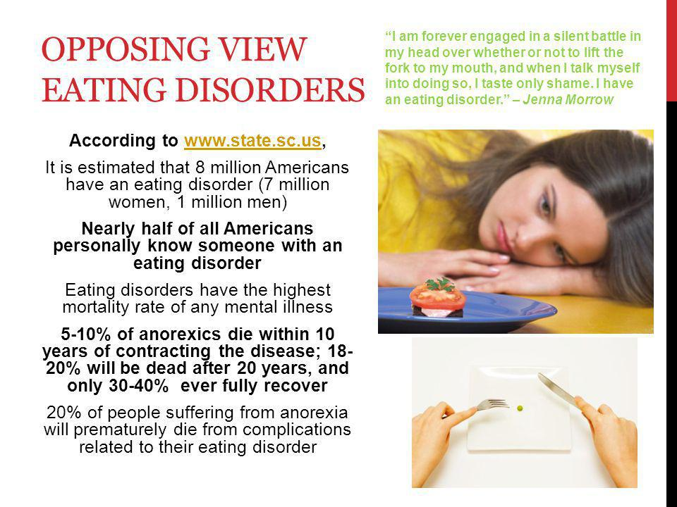 OPPOSING VIEW THINSPIRATION People with eating disorders live by thinspiration.