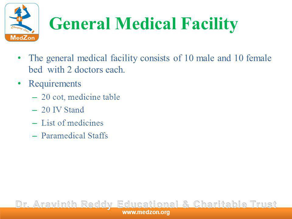 www.medzon.org General Medical Facility The general medical facility consists of 10 male and 10 female bed with 2 doctors each.