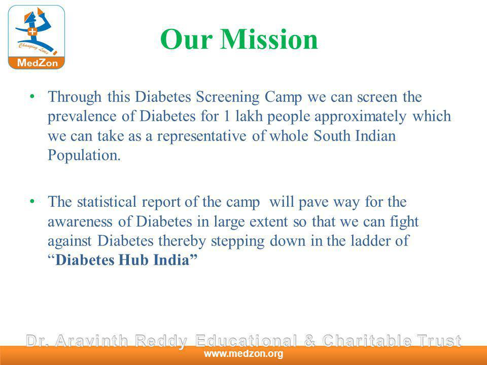 www.medzon.org Our Mission Through this Diabetes Screening Camp we can screen the prevalence of Diabetes for 1 lakh people approximately which we can take as a representative of whole South Indian Population.