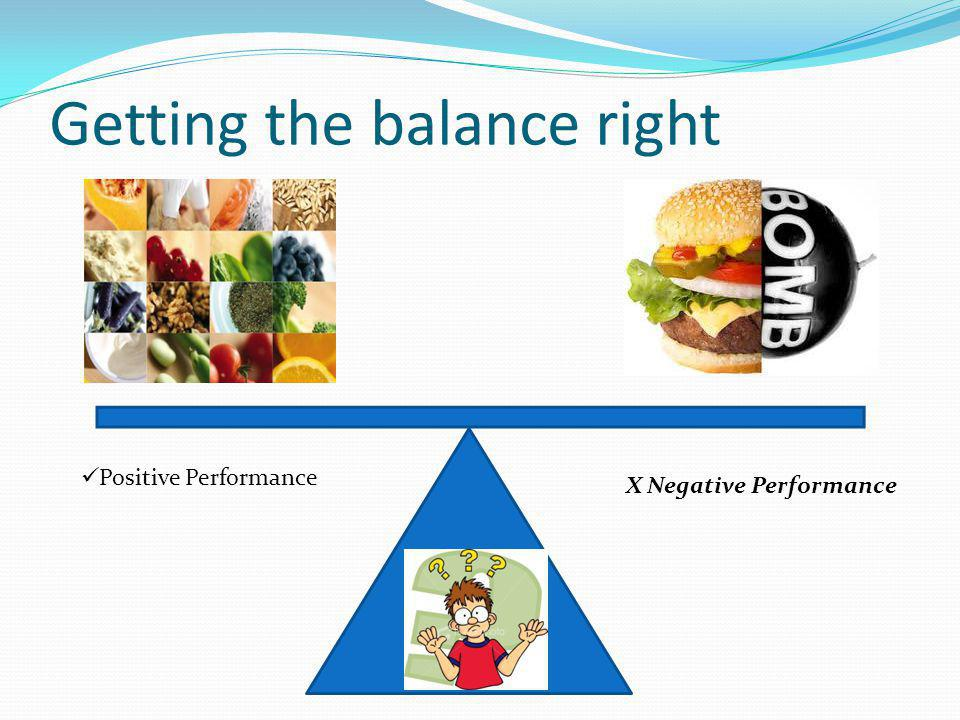 Getting the balance right Positive Performance X Negative Performance