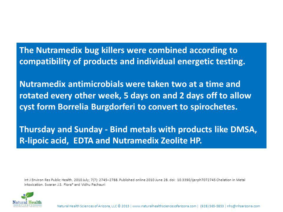 Natural Health Sciences of Arizona, LLC © 2013 | www.naturalhealthsciencesofarizona.com | (928) 565-5853 | nhs@nhsarizona.com The Nutramedix bug killers were combined according to compatibility of products and individual energetic testing.
