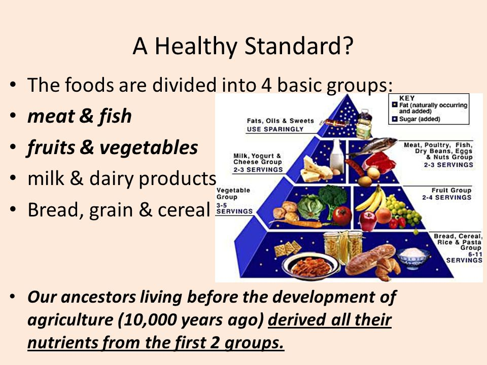 A Healthy Standard? The foods are divided into 4 basic groups: meat & fish fruits & vegetables milk & dairy products Bread, grain & cereal Our ancesto