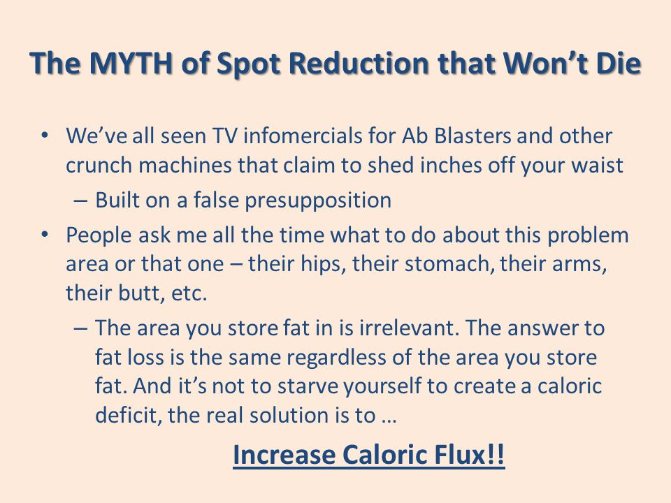 The MYTH of Spot Reduction that Wont Die Weve all seen TV infomercials for Ab Blasters and other crunch machines that claim to shed inches off your wa