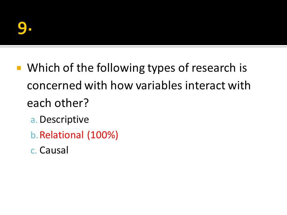 Which of the following types of research is concerned with how variables interact with each other? a. Descriptive b. Relational (100%) c. Causal