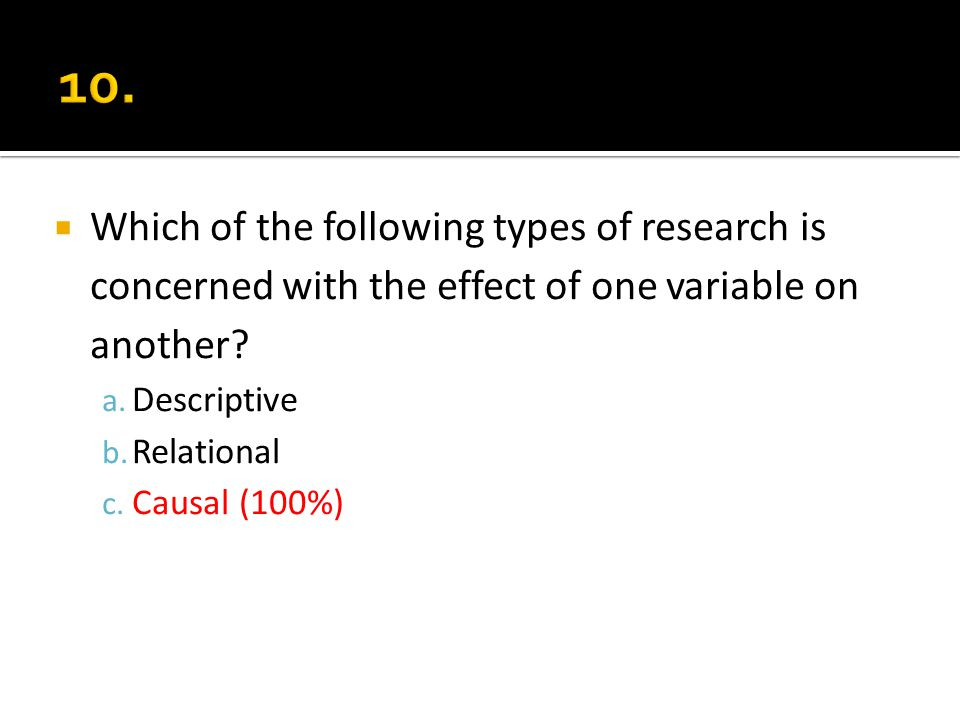 Which of the following types of research is concerned with the effect of one variable on another? a. Descriptive b. Relational c. Causal (100%)