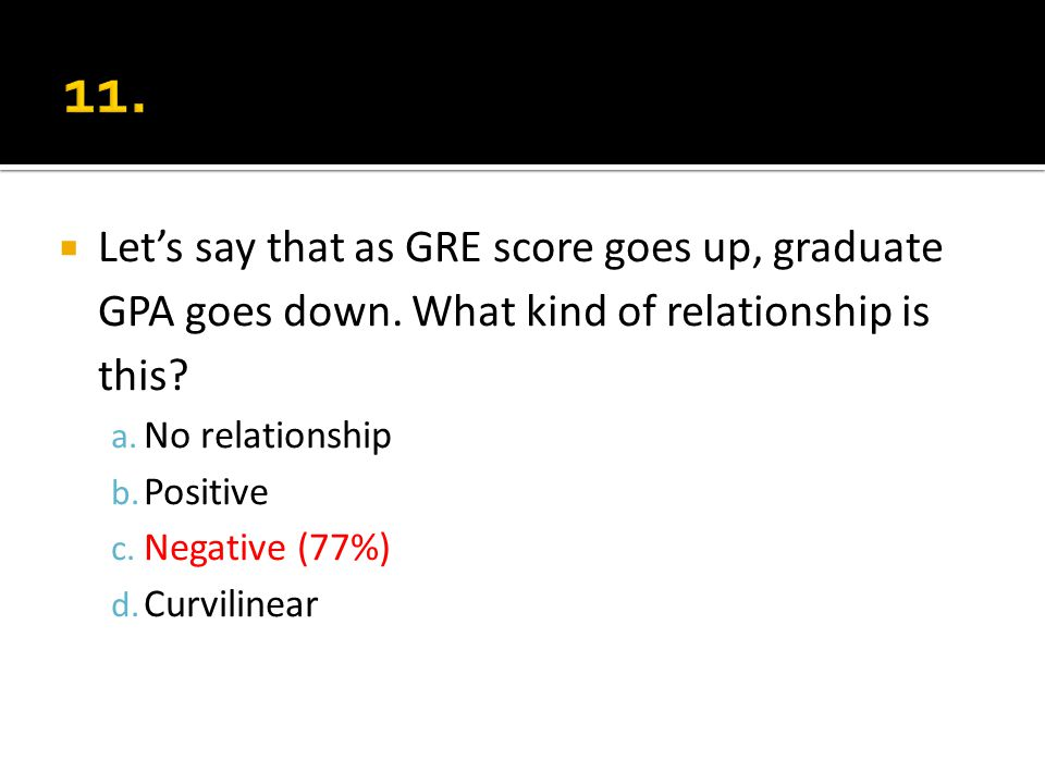 Lets say that as GRE score goes up, graduate GPA goes down. What kind of relationship is this? a. No relationship b. Positive c. Negative (77%) d. Cur