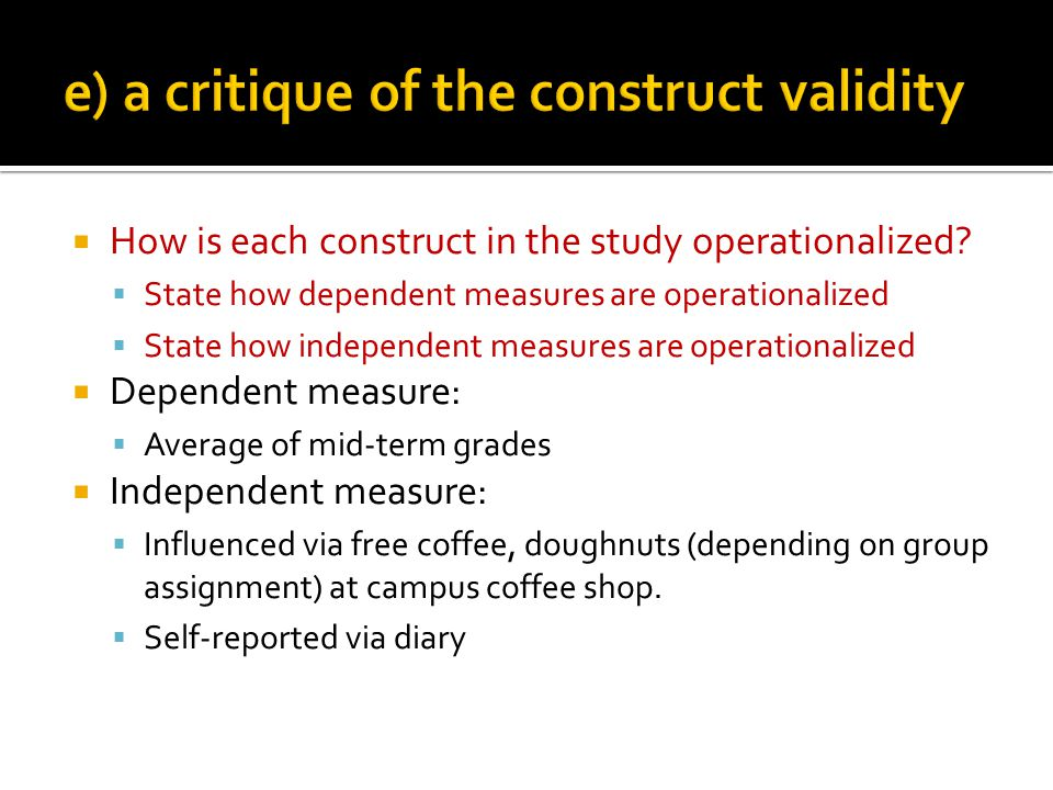 How is each construct in the study operationalized.