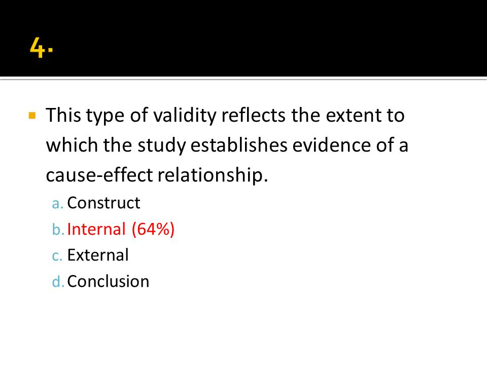 This type of validity reflects the extent to which the study establishes evidence of a cause-effect relationship.