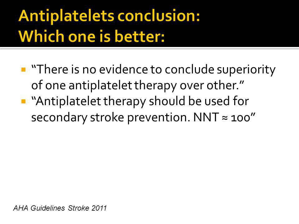 There is no evidence to conclude superiority of one antiplatelet therapy over other.