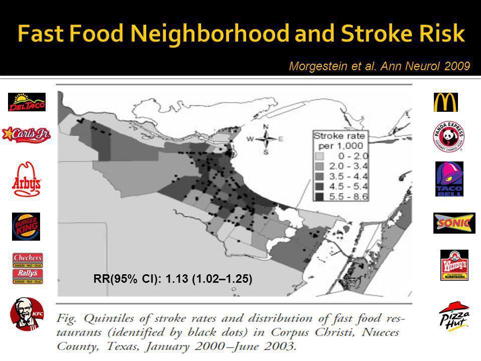 Morgestein et al. Ann Neurol 2009 RR(95% CI): 1.13 (1.02–1.25)