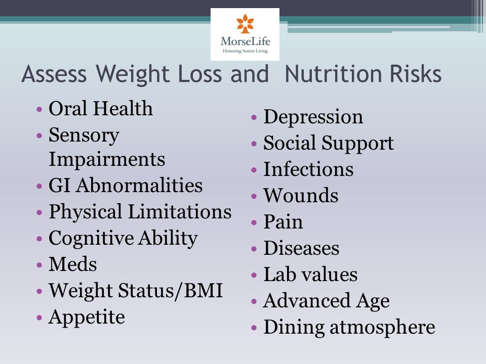 Assess Weight Loss and Nutrition Risks Oral Health Sensory Impairments GI Abnormalities Physical Limitations Cognitive Ability Meds Weight Status/BMI Appetite Depression Social Support Infections Wounds Pain Diseases Lab values Advanced Age Dining atmosphere