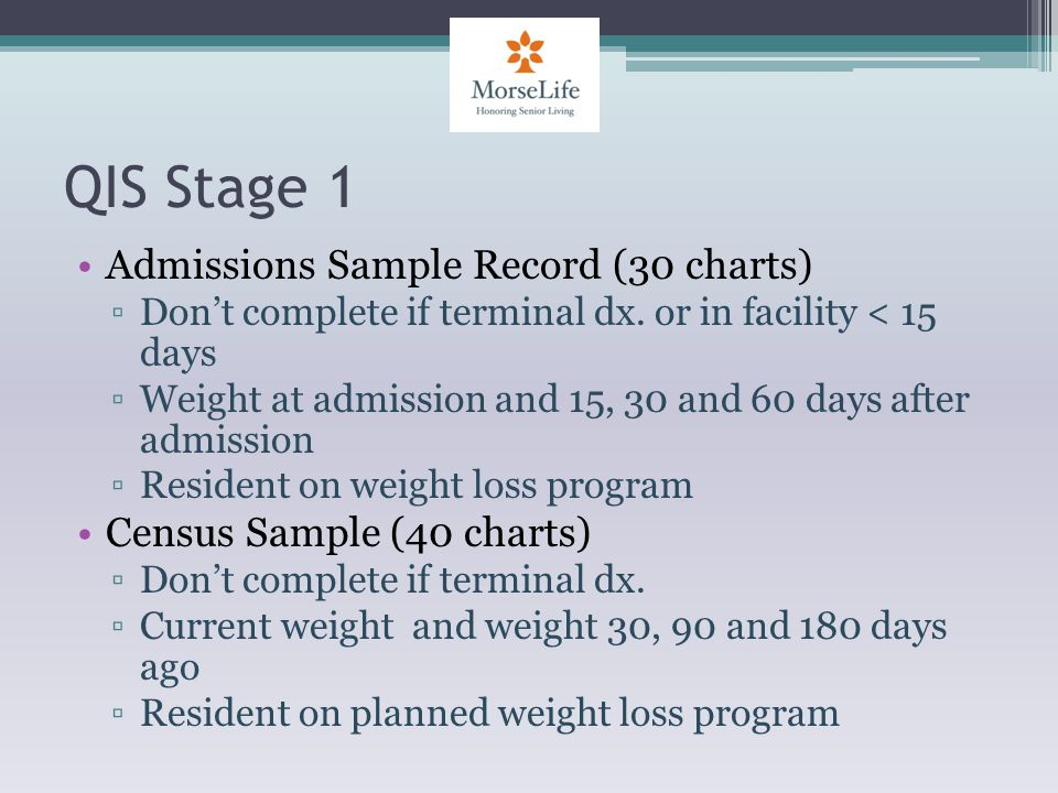 QIS Stage 1 Admissions Sample Record (30 charts) Dont complete if terminal dx.