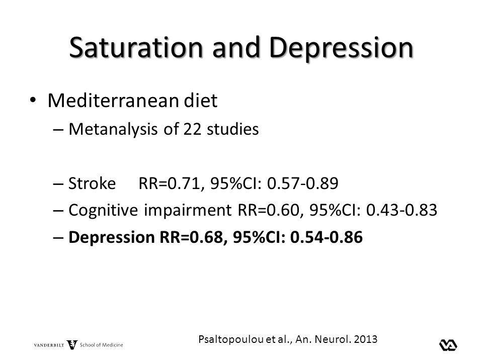 Saturation and Depression Mediterranean diet – Metanalysis of 22 studies – Stroke RR=0.71, 95%CI: 0.57-0.89 – Cognitive impairment RR=0.60, 95%CI: 0.4