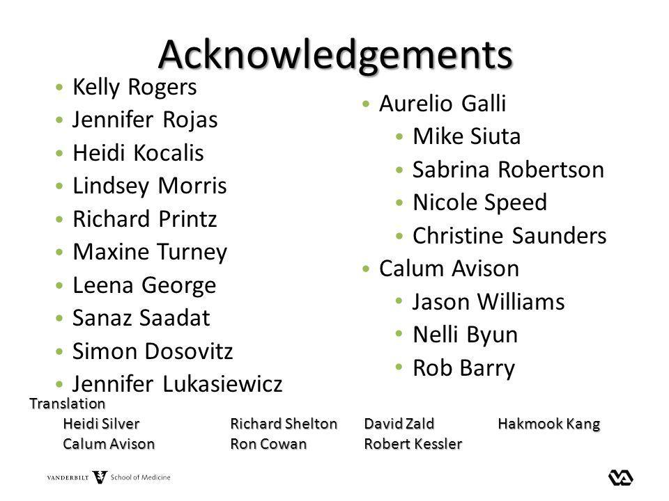 Acknowledgements Kelly Rogers Jennifer Rojas Heidi Kocalis Lindsey Morris Richard Printz Maxine Turney Leena George Sanaz Saadat Simon Dosovitz Jennif