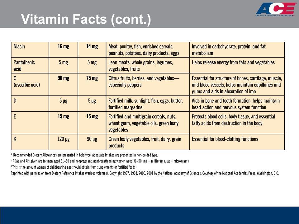 Vitamin Facts (cont.)
