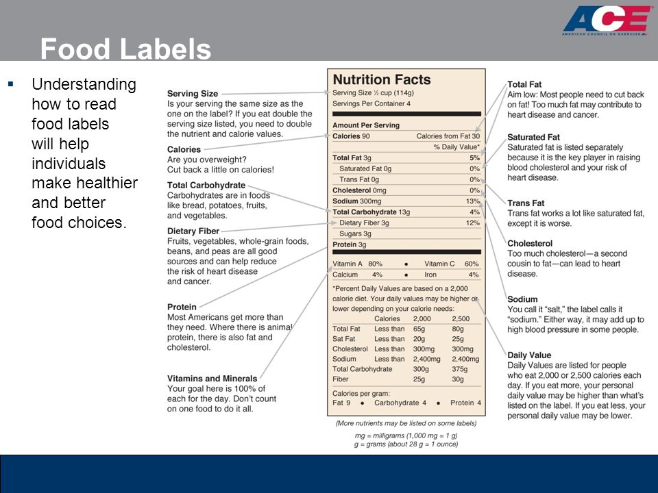 Food Labels Understanding how to read food labels will help individuals make healthier and better food choices.