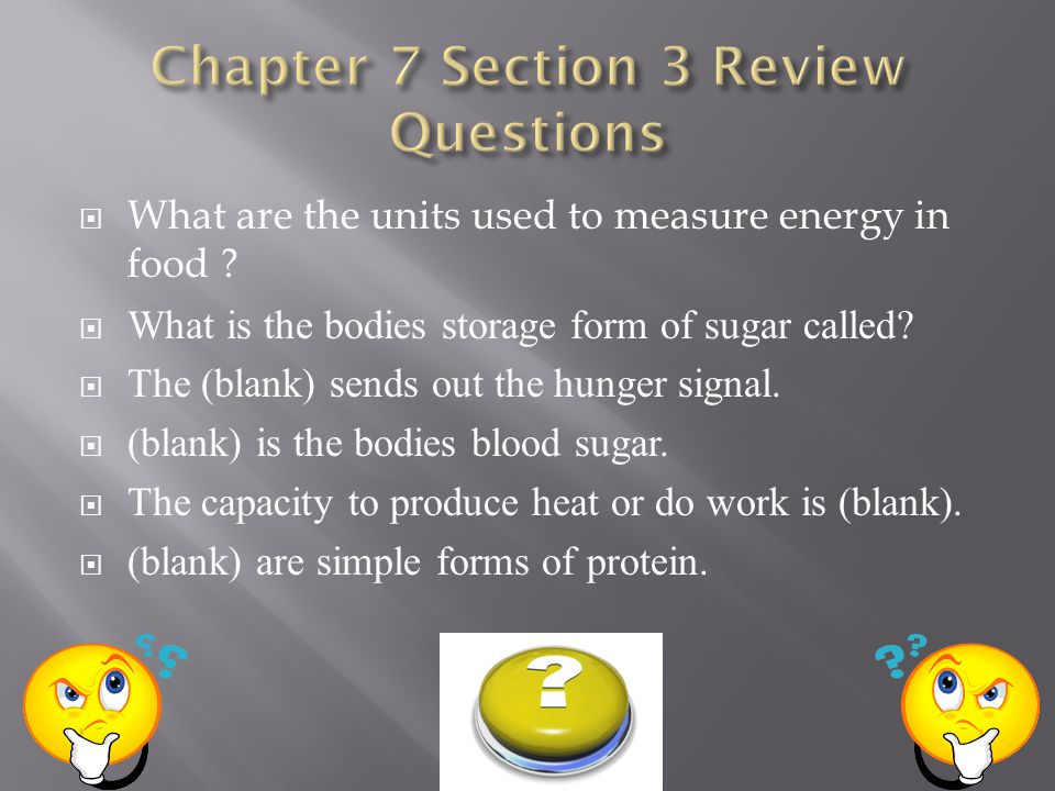 What are the units used to measure energy in food .