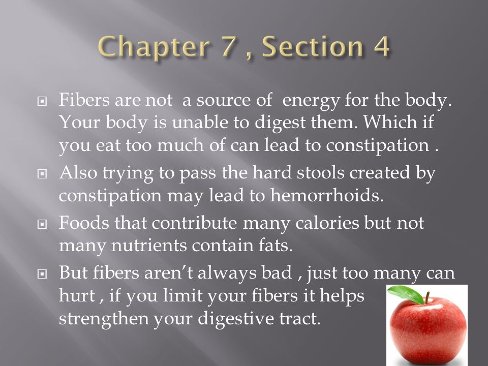 Fibers are not a source of energy for the body.Your body is unable to digest them.