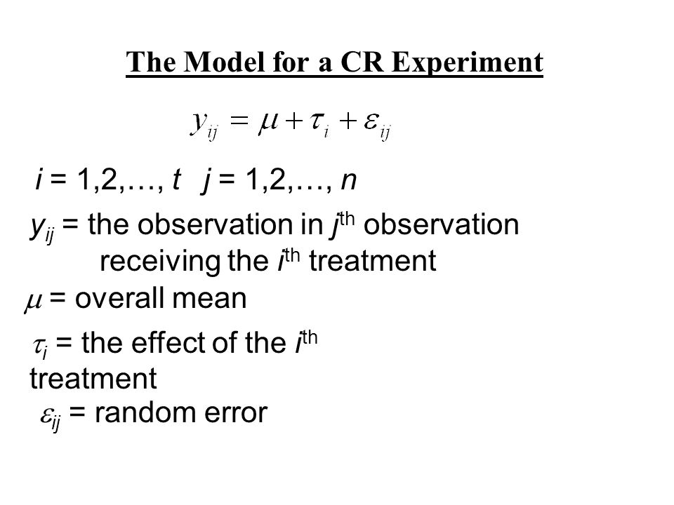 The Model for a CR Experiment i = 1,2,…, tj = 1,2,…, n y ij = the observation in j th observation receiving the i th treatment = overall mean i = the effect of the i th treatment ij = random error