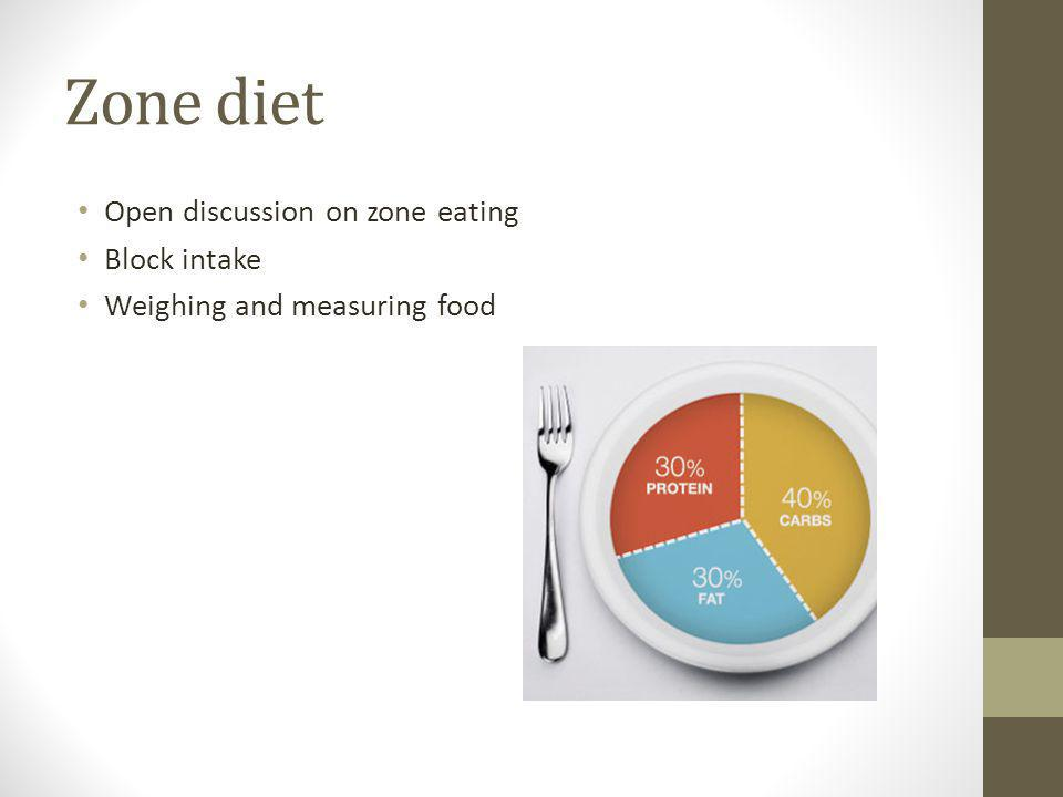 Zone diet Open discussion on zone eating Block intake Weighing and measuring food