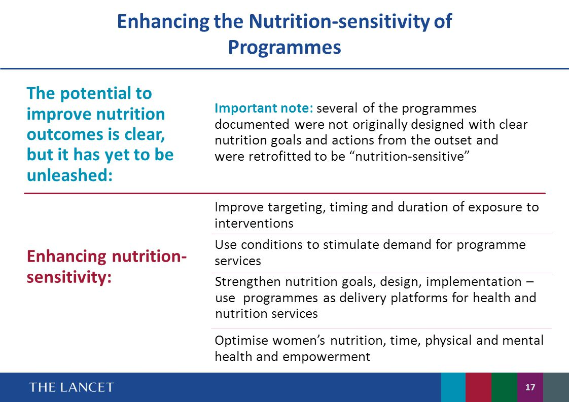 New guidance on how to improve nutrition-sensitivity of programmes A new generation of nutrition-sensitive programmes with clearer nutrition goals and actions, and that address other constraints to nutrition – e.g.