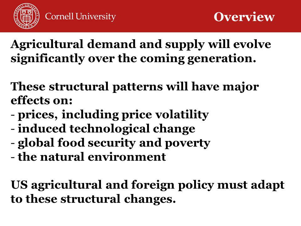 Agricultural demand and supply will evolve significantly over the coming generation.