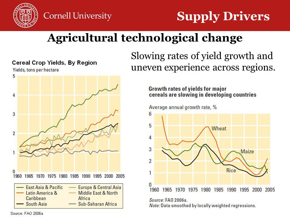 Agricultural technological change Supply Drivers Slowing rates of yield growth and uneven experience across regions.