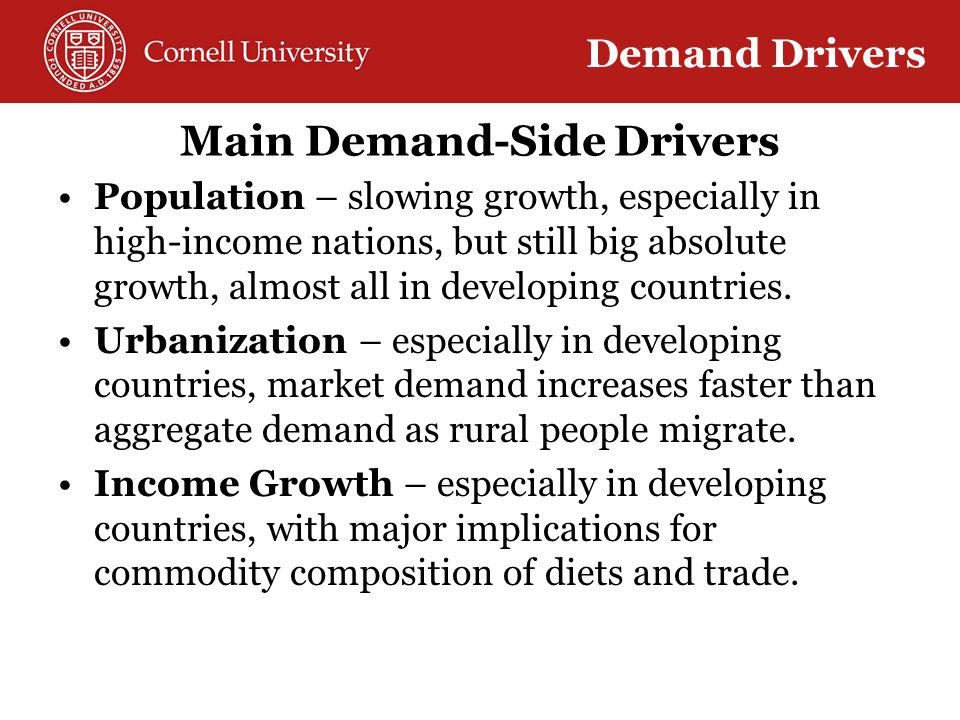 Main Demand-Side Drivers Population – slowing growth, especially in high-income nations, but still big absolute growth, almost all in developing countries.