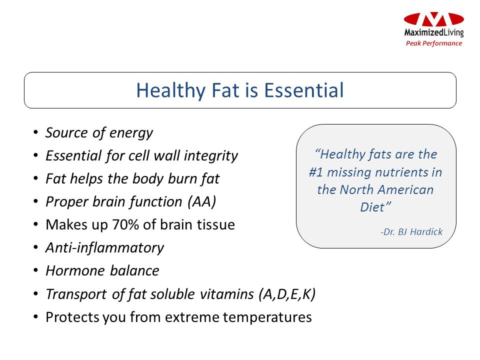 Source of energy Essential for cell wall integrity Fat helps the body burn fat Proper brain function (AA) Makes up 70% of brain tissue Anti-inflammato