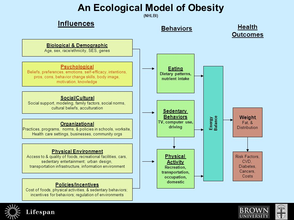 An Ecological Model of Obesity (NHLBI) Health Outcomes Energy Balance Behaviors Eating Dietary patterns, nutrient intake Sedentary Behaviors TV, computer use, driving Physical Activity Recreation, transportation, occupation, domestic Weight, Fat, & Distribution Risk Factors, CVD, Diabetes, Cancers, Costs Influences Biological & Demographic Age, sex, race/ethnicity, SES, genes Psychological Beliefs, preferences, emotions, self-efficacy, intentions, pros, cons, behavior change skills, body image, motivation, knowledge Social/Cultural Social support, modeling, family factors, social norms, cultural beliefs, acculturation Physical Environment Access to & quality of foods, recreational facilities, cars, sedentary entertainment; urban design, transportation infrastructure, information environment Policies/Incentives Cost of foods, physical activities, & sedentary behaviors; incentives for behaviors; regulation of environments Organizational Practices, programs, norms, & policies in schools, worksite, Health care settings, businesses, community orgs Developed for the NHLBI Workshop on Predictors of Obesity, Weight Gain, Diet, and Physical Activity; August 4-5, 2004, Bethesda MD