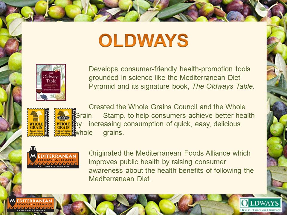 Develops consumer-friendly health-promotion tools grounded in science like the Mediterranean Diet Pyramid and its signature book, The Oldways Table. C