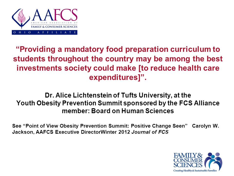 Providing a mandatory food preparation curriculum to students throughout the country may be among the best investments society could make [to reduce health care expenditures].