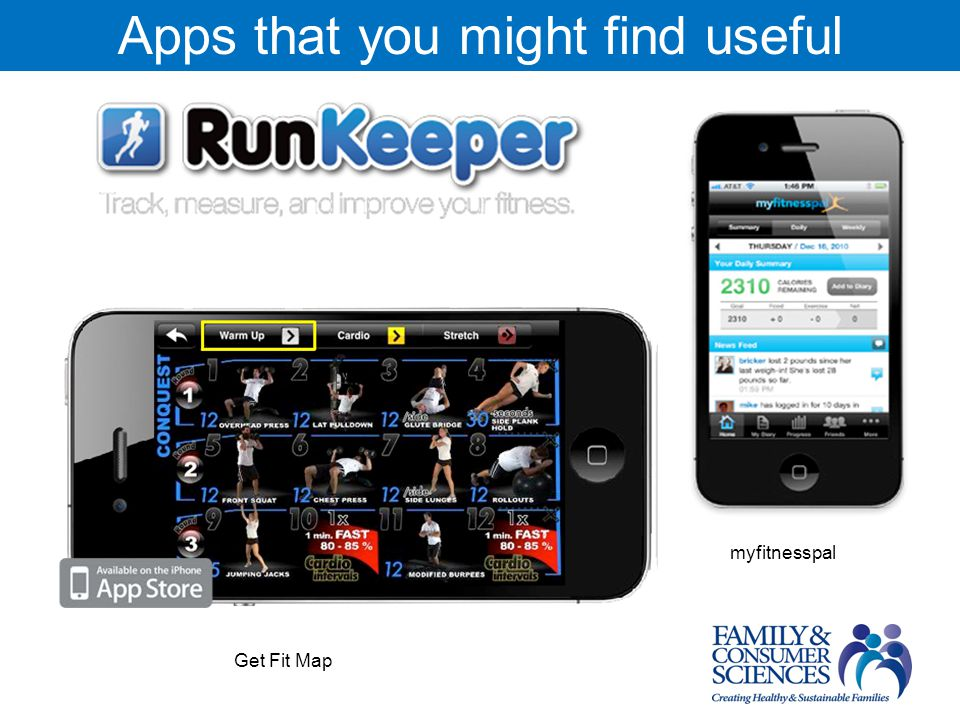 Apps that you might find useful myfitnesspal Get Fit Map