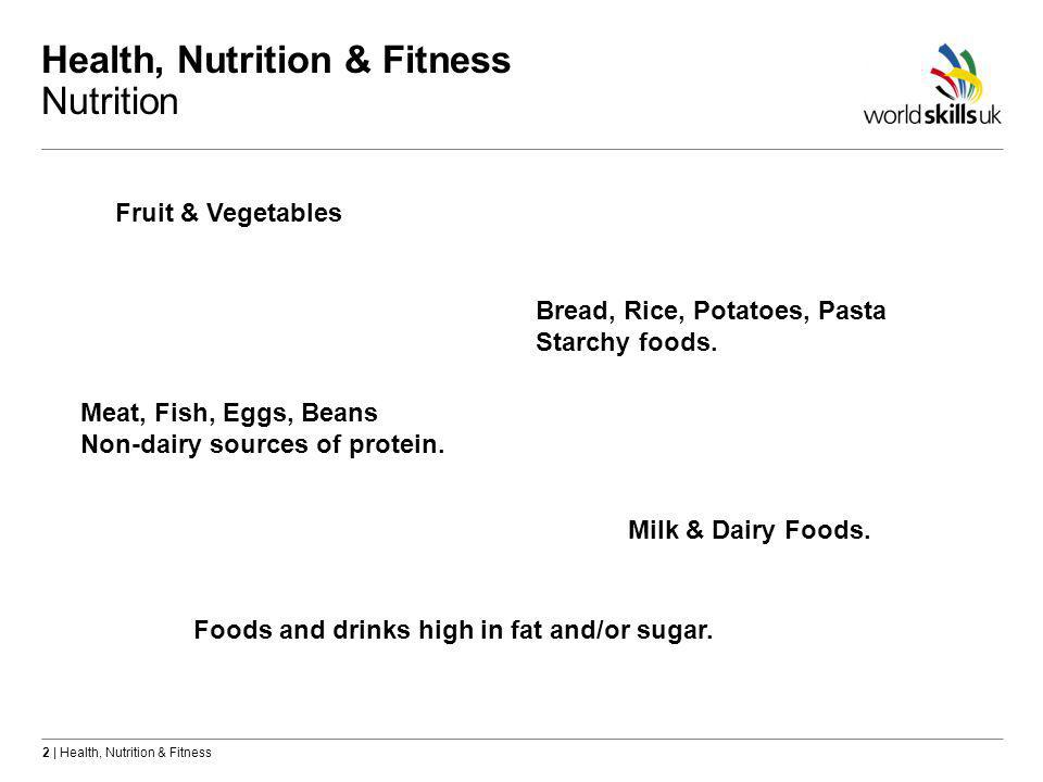 2 | Health, Nutrition & Fitness Health, Nutrition & Fitness Nutrition Fruit & Vegetables Bread, Rice, Potatoes, Pasta Starchy foods.
