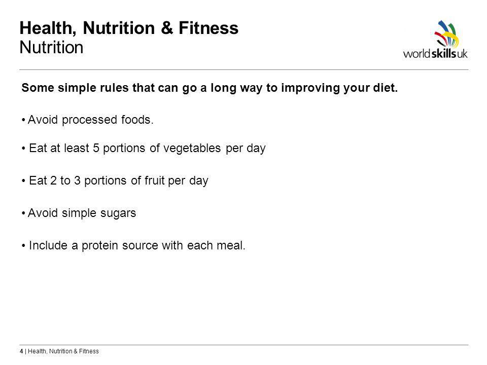 4 | Health, Nutrition & Fitness Health, Nutrition & Fitness Nutrition Some simple rules that can go a long way to improving your diet.