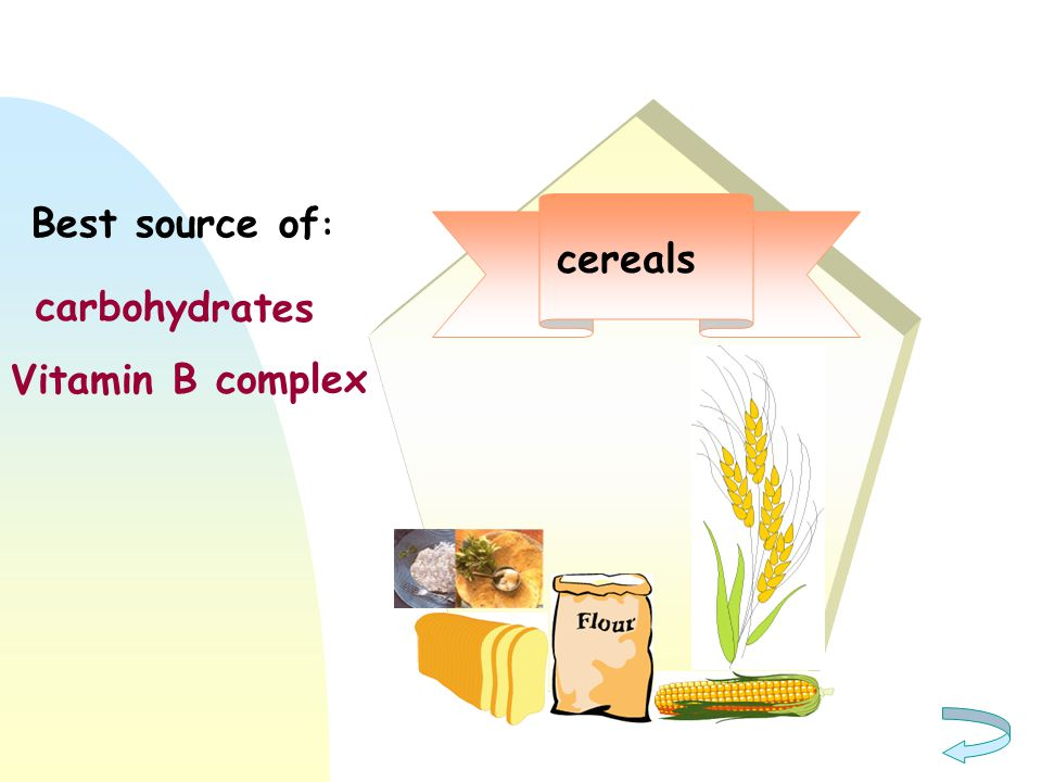 cereals carbohydrates Vitamin B complex Best source of :