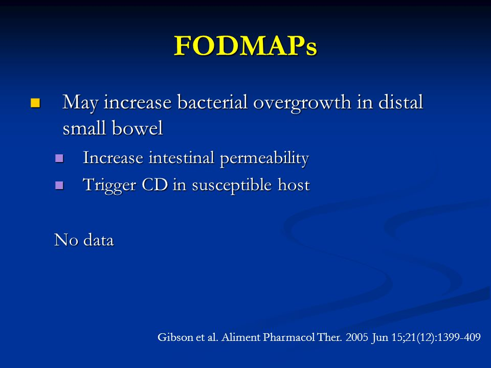 FODMAPs May increase bacterial overgrowth in distal small bowel May increase bacterial overgrowth in distal small bowel Increase intestinal permeability Increase intestinal permeability Trigger CD in susceptible host Trigger CD in susceptible host No data Gibson et al.