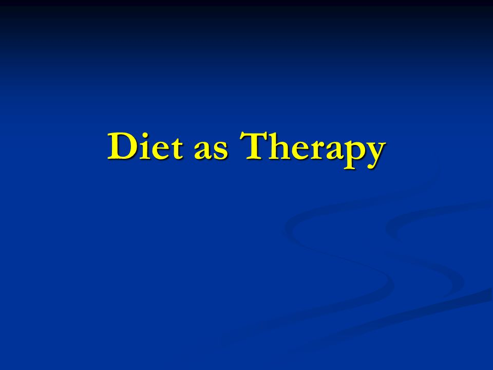 Diet as Therapy