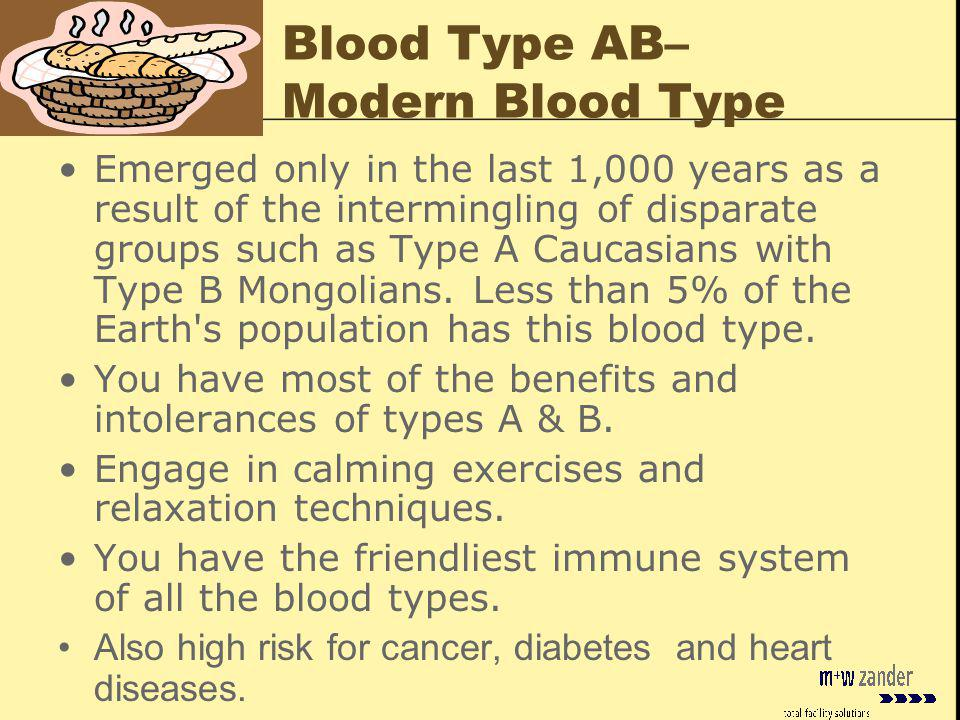Blood Type AB– Modern Blood Type Emerged only in the last 1,000 years as a result of the intermingling of disparate groups such as Type A Caucasians with Type B Mongolians.