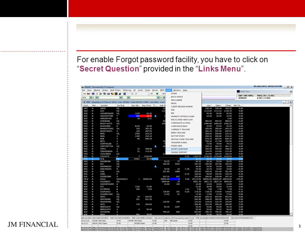 3333 For enable Forgot password facility, you have to click onSecret Question provided in the Links Menu.