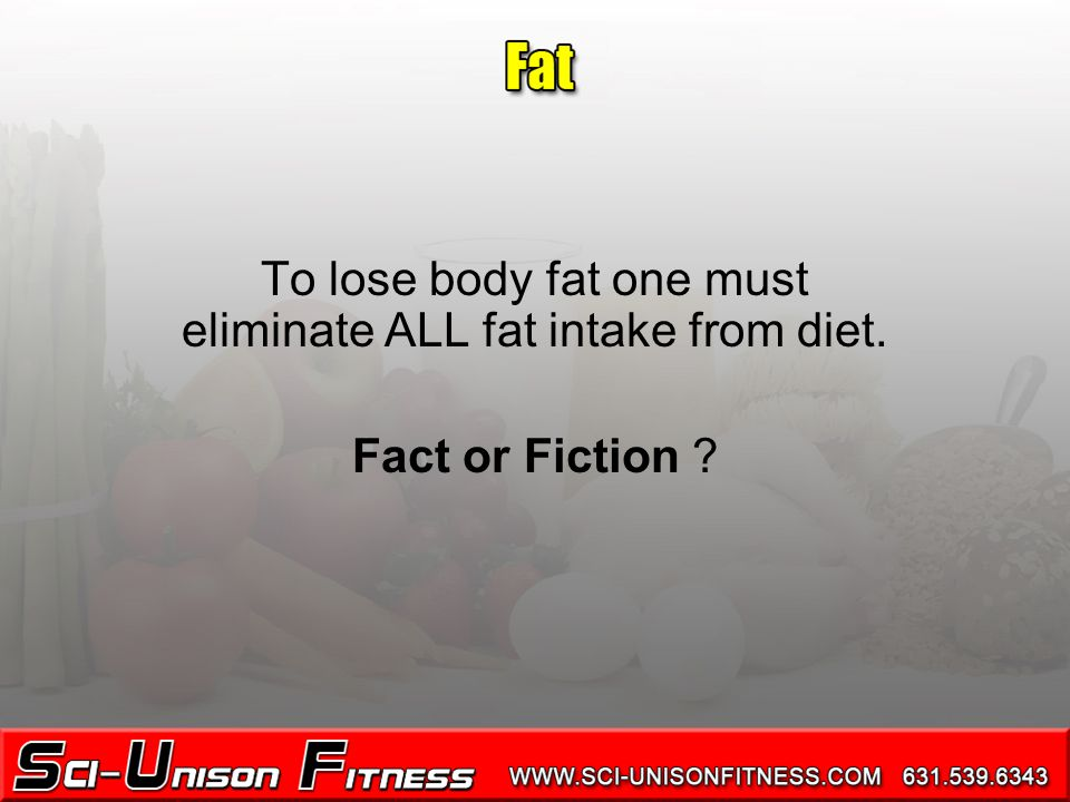 To lose body fat one must eliminate ALL fat intake from diet. Fact or Fiction