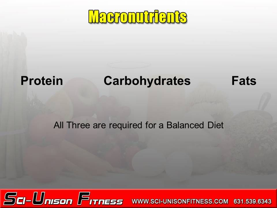 ProteinCarbohydrates Fats All Three are required for a Balanced Diet