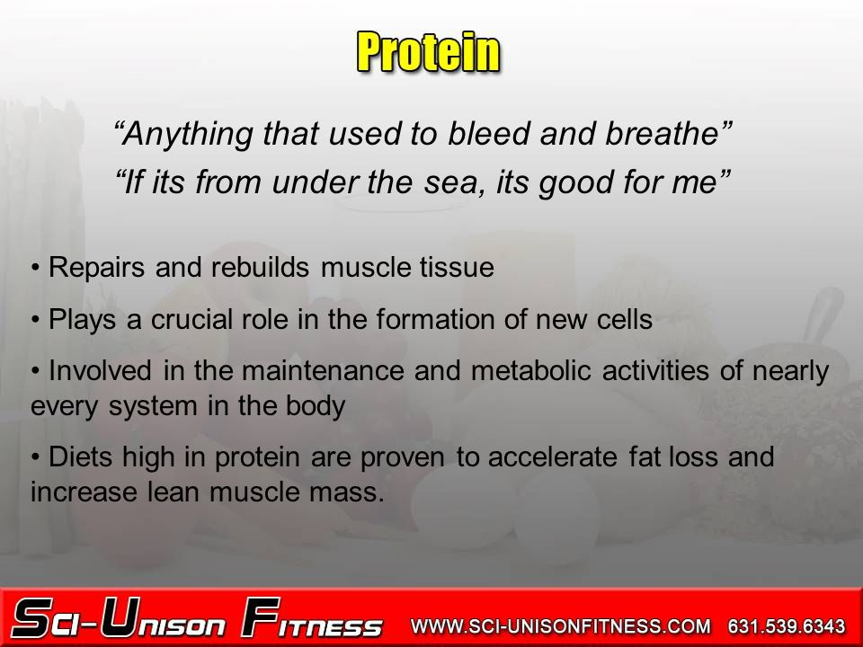 Anything that used to bleed and breathe If its from under the sea, its good for me Repairs and rebuilds muscle tissue Plays a crucial role in the formation of new cells Involved in the maintenance and metabolic activities of nearly every system in the body Diets high in protein are proven to accelerate fat loss and increase lean muscle mass.